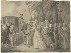 Ontmoeting van prinses Wilhelmina met haar broer koning Frederik III van Pruisen te Kleef, 1788
