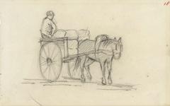 Paard en een kar met een man erop