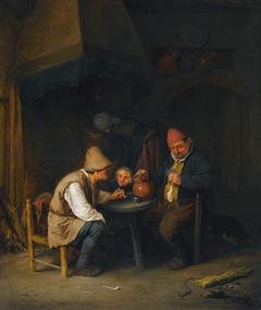 Peasant Family and a Dog beside a Hearth
