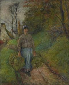 Peasant Woman Carrying Two Bundles of Hay