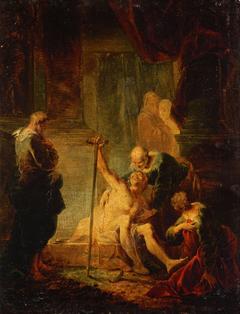 Petrus und Johannes heilen den Lahmgeborenen im Tempel