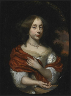 Portrait of a young lady wearing a red cloak at a fountain