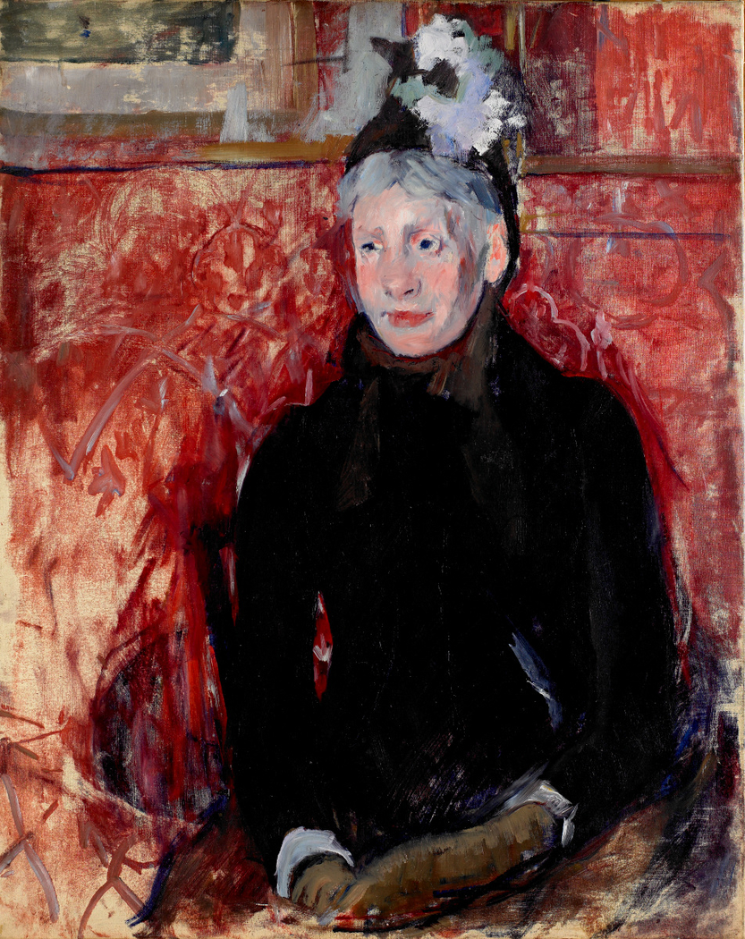 Portrait of an Elderly Lady in a Bonnet: Red Background