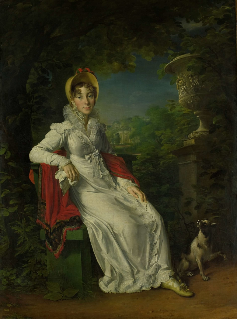Portrait of Marie Caroline Ferdinande Louise de Naples, Wife of Charles Ferdinand, Duke de Berry, in the Park de Bagatelle in the Bois de Boulogne, Paris