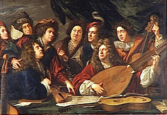 Portrait of several musicians and artists