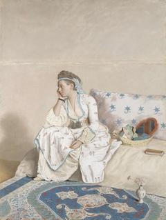 Portret van Marie Fargues, echtgenote van de kunstenaar, in Turks kostuum