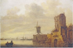 River landscape with a ruin and a mill