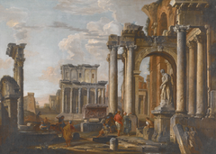 Ruins with the Temple of Antoninus and Faustina