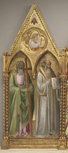 Saint Andrew and Saint Benedict with the Archangel Gabriel [left panel]