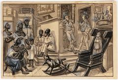 Scène d'ouverture d'une vente publique de nègres Marchant de nègres et son maquignon