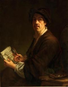 """Selfportrait with the """"Wienerisches Diarium"""""""
