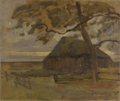 Sheepfold with tree at right