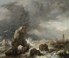 Ships in a storm off a rocky coast