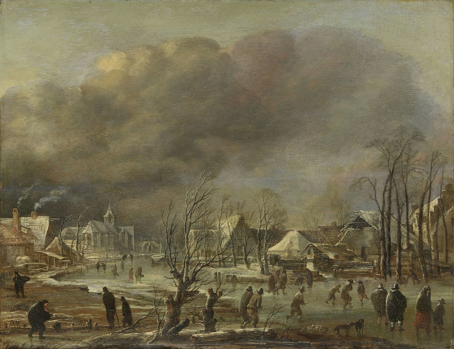 Snowfall on a village beside a frozen canal