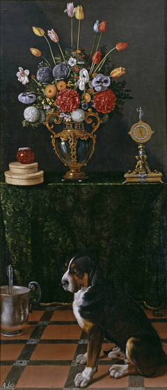 Still Life with a Vase of Flowers and a Dog