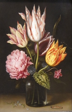 Still Life with Bouquet of Tulips, a Rose, Clover, and Cyclamen in a Green Glass Bottle
