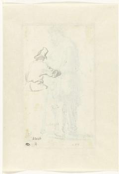 Studie van een op de rug geziene man