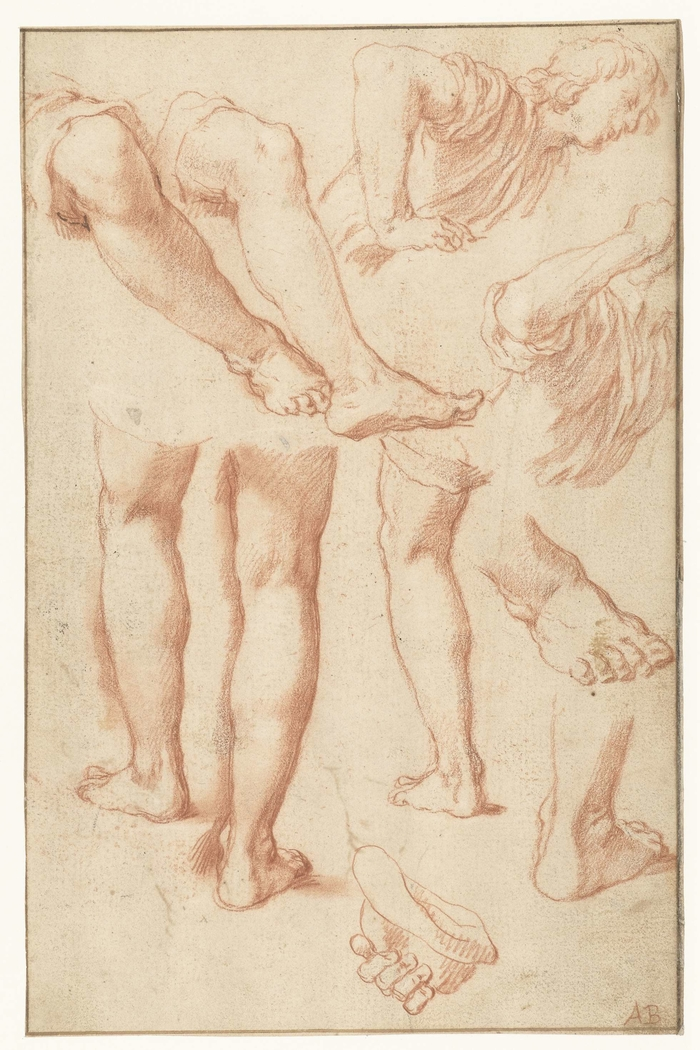 Study of legs, feet, and a young man leaning