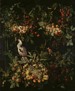 Swags of fruit and flowers surrounding a cartouche with a sulphur-crested cockatoo