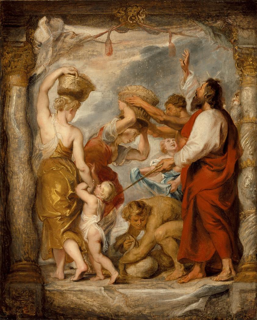 The Israelites Gathering Manna in the Desert