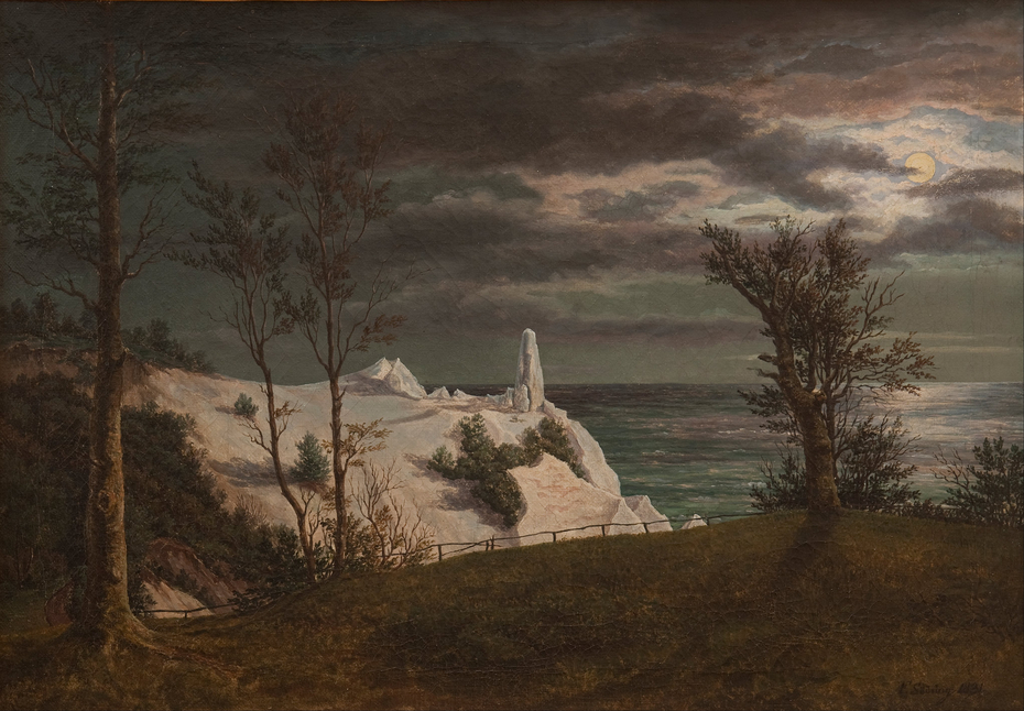 "The ""Summer Spire"" on the Chalk Cliffs of the Island Møn. Moonlight"