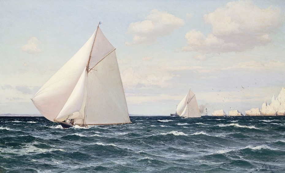 The Yachts 'Britannia' and 'Ailsa' off the Needles, Isle of Wight