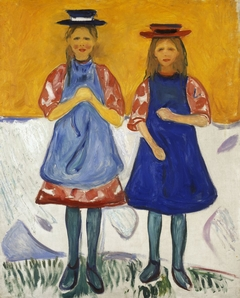 Two Girls with Blue Aprons