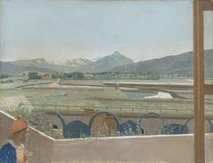 Uitzicht op het Mont Blanc-massief vanuit het atelier van de kunstenaar te Genève, met zelfportret