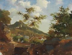 Village au pied d'une colline