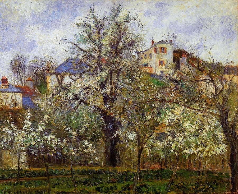 Kitchen Garden with Trees in Flower, Spring, Pontoise