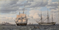 Russian sailing ships at the mouth of the harbour of Elsinore