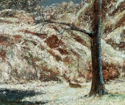 Winter landscape with a deer