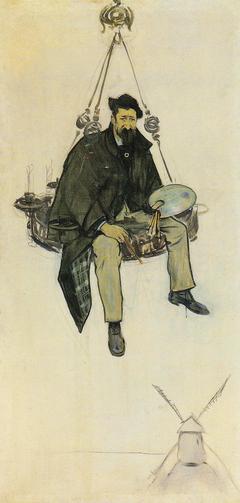 Retrat de Santiago Rusiñol al damunt d'una làmpada