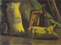 Still life with two bags and bottle
