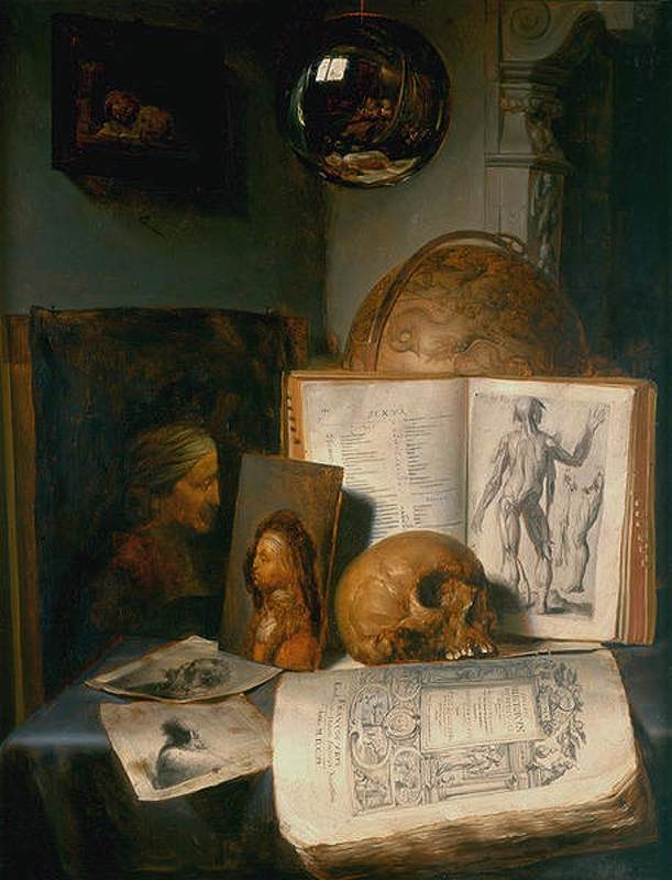 Vanitas still life with skull, books, prints and paintings by Rembrandt and Jan Lievens, with a reflection of the painter at work
