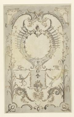 Vegetatief ornament met apen, festoenen, gekruiste pijlkokers en een borstbeeld