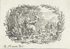 Vignet met zittende vrouw omringd door putti