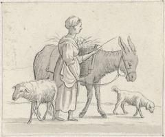 Vrouw met ezel, schaap en hond