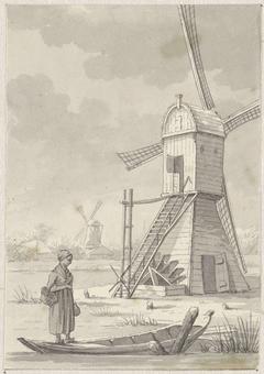 Vrouw staand op een bootje voor een windmolen