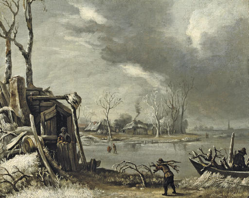 Winter landscape with a wood-gatherer