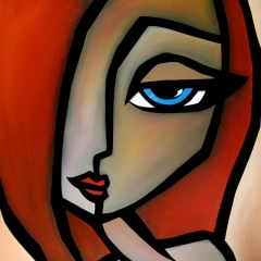 With You - Original Abstract painting Modern pop Art Contemporary red large Portrait FACE by Fidostudio