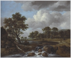 Wooded Landscape with a Shepherd and Low Waterfall