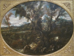 Wooded Landscape with Monks at a Fountain