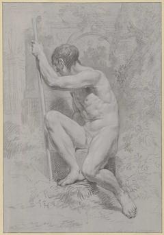 Zittend mannelijk naakt, met een stok, naar links gedraaid