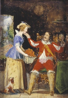 A Maid Offering a Basket of Fruit to a Cavalier