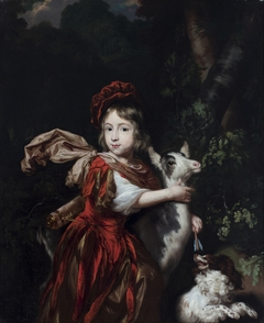 A Portrait of a young Boy dressed as a Hunter with a Goat and a Dog