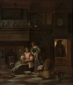 A woman and a maid in an interior