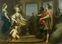 Aeneas and Achates wafted in a Cloud before Dido, Queen of Carthage, with Cupid at her Feet