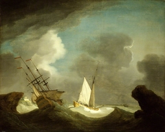 An Indiaman and a Royal Yacht in a Storm off a Rocky Coast with a Castle