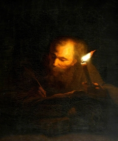 An Old Man writing a Book by Candlelight